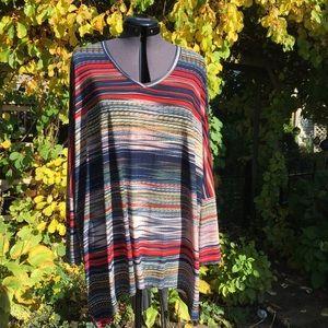 M.I.K.O. Striped Knit Oversized V-neck Top  🇨🇦